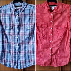 2 H&M Short Sleeves Button Up Shirts (Size 8)